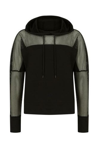 Picture of Fishnet Detailed Hoodie Black