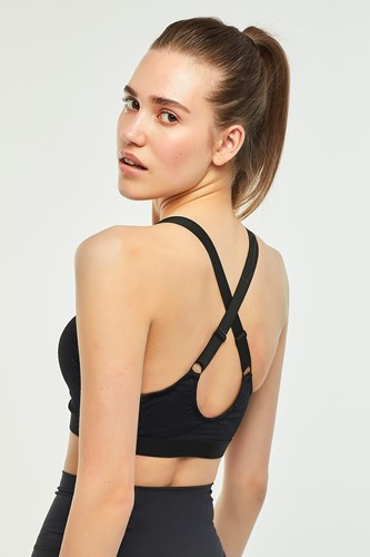 Picture of Zip Front Sports Bra Black